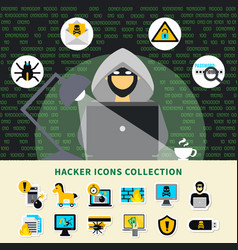 Hacker activity icons collection vector