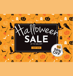 halloween sale with pumpkin banner and background vector image