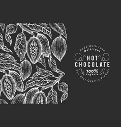hand drawn cocoa design template cacao plants on vector image