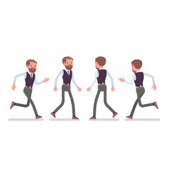 handsome male office employee walking running vector image