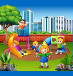 Happy children playing in the playground vector
