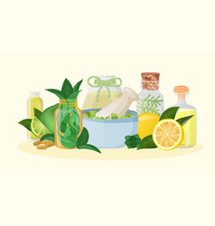 Homeopathic medicine and herbal healing vector