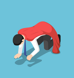 isometric depressed super businessman kneeling on vector image