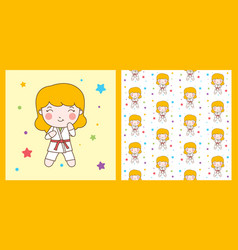 karate girl with red belt character with pattern vector image