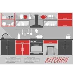 Kitchen interior decor infographic vector image