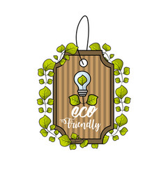 Label with bulb and leaves decoration design vector