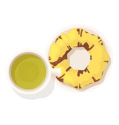 Lemon donut icon isometric style vector