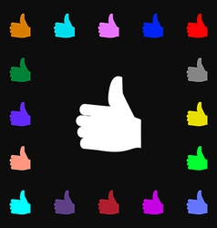 Like Thumb up icon sign Lots of colorful symbols vector