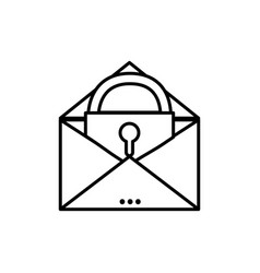 Line e-mail mesage with padlock insite to security vector
