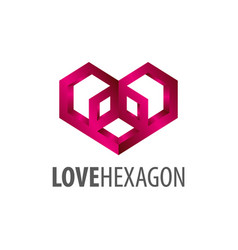 love hexagon logo concept design symbol graphic vector image