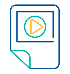Media player blue and yellow linear icon vector
