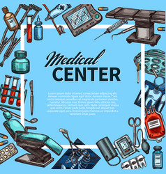 medical center and medicine items sketch poster vector image