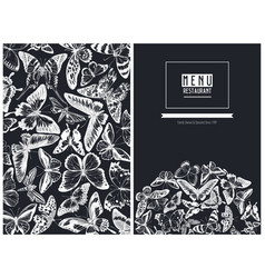 Menu cover design with chalk great orange-tip vector