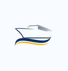 Minimalist boat sea business logo design vector
