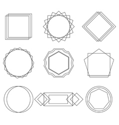 Mono line frames elegant design elements badges vector image