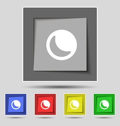 Moon icon sign on the original five colored vector