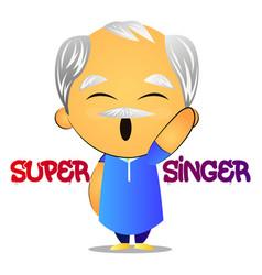 old man super singer on white background vector image