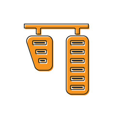 Orange car gas and brake pedals icon isolated on vector