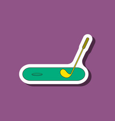 Paper sticker on stylish background golf stick and vector
