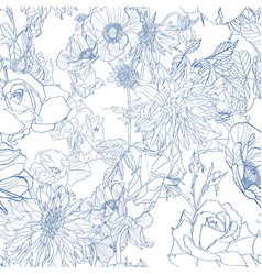 Pattern with hand drawn line garden flowers vector