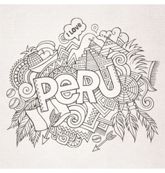 Peru hand lettering and doodles elements vector