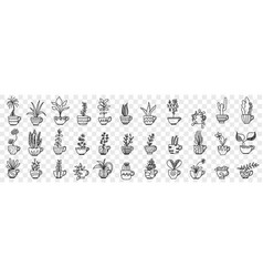 Plants in pots doodle set vector