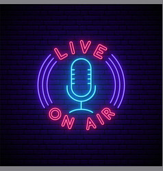 podcast neon sign glowing neon mic icon and text vector image
