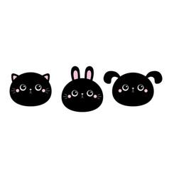 rabbit bunny cat kitty kitten dog face head set vector image