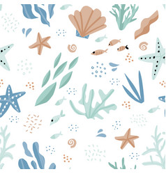 sea world cartoon hand drawn seamless pattern vector image