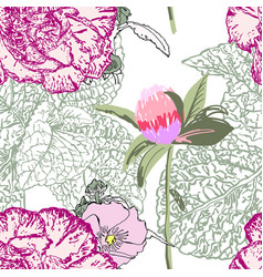 seamless floral pattern with realistic flower vector image