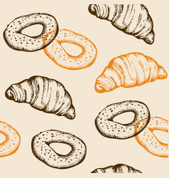 seamless pattern with croissant and bagel vector image