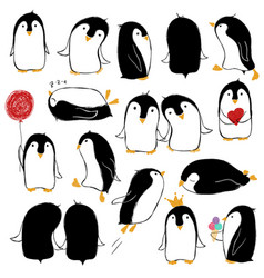 set isolated funny penguins vector image