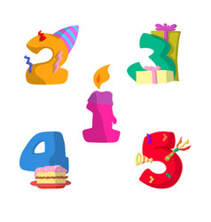 set number birthday flat design vector image