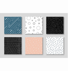 set of seamless creative patterns - minimalistic vector image
