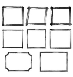 set of watercolor black grunge frames vector image