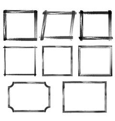 Set watercolor black grunge frames vector