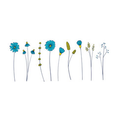 set with spring branches and flowers isolated vector image