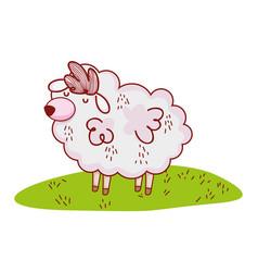 sheep in nature cartoon vector image