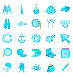 Ship things icons set cartoon style vector
