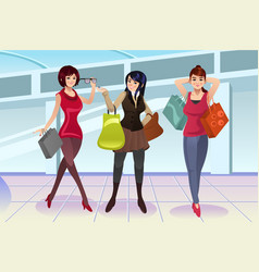 shopping women at the mall vector image