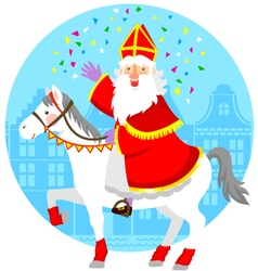 Sinterklaas on his horse vector