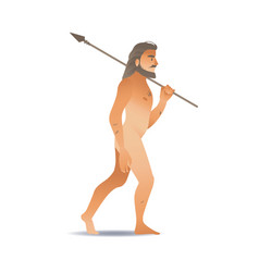 sketch caveman naked in loincloth walking vector image