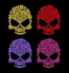 Skull flower petals Floral colorful skull vector image