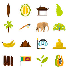 sri lanka travel set flat icons vector image