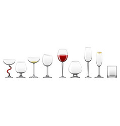 Stemware - realistic isolated clip art set vector