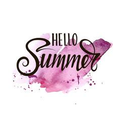 summer hand written lettering on watercolor spot vector image