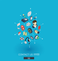 support integrated 3d web icons digital network vector image