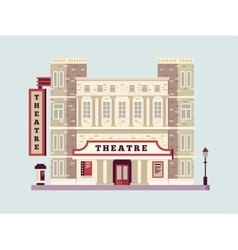 Theater building design flat vector