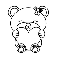 Toy bear hugging a heart black and white vector
