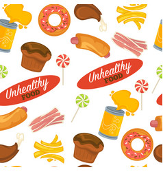 unhealthy food seamless pattern pastry and vector image